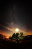 Paysage de nuit avec la manière laiteuse au-dessus des champs photographie stock