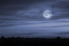 Paysage de nuit avec la pleine lune Photographie stock