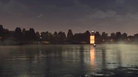 Paysage de nuit avec le portail à une autre dimension banque de vidéos