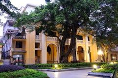 Paysage de nuit d'architecture de Shameen Images stock