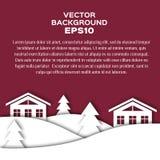 Paysage de nuit d'hiver avec des maisons et des sapins Image stock