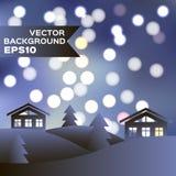 Paysage de nuit d'hiver avec des maisons et des sapins Photographie stock libre de droits