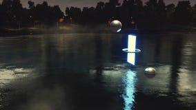 Paysage de nuit d'imagination avec la porte à un autre monde clips vidéos