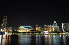 Paysage de nuit de Singapour Photo stock