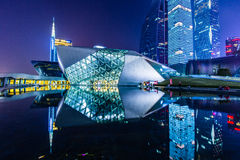 Paysage de nuit de théatre de l'opéra de Guangzhou image libre de droits