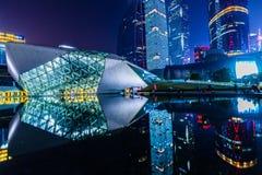 Paysage de nuit de théatre de l'opéra de Guangzhou Photo stock