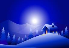 Paysage de nuit de vacances d'hiver Photo libre de droits