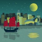 Paysage de nuit de Victoria Harbor illustration de vecteur