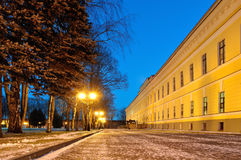 Paysage de nuit en parc de Kremlin dans Veliky Novgorod, Russie Image stock