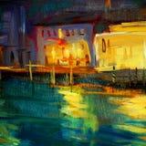 Paysage de nuit vers Venise, peignant par l'huile sur une toile Images libres de droits