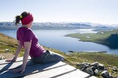 Paysage de observation de la Laponie Photographie stock libre de droits