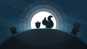 Paysage de papier de bande dessinée Illustration d'écureuil Arbre, étoile, colline, lune Photo stock
