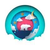 Paysage de papier de bande dessinée Illustration d'ours Étoile, nuage, lune, montagne Photos libres de droits