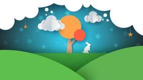 Paysage de papier de bande dessinée Illustration de lapin Arbre, nuage, ciel, étoile Photographie stock