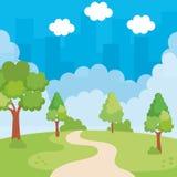 Paysage de parc avec l'icône de scène de manière illustration libre de droits