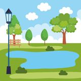 Paysage de parc avec la scène de lac illustration stock