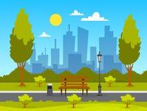 Paysage de parc de ville Herbe verte, banc et arbres illustration stock
