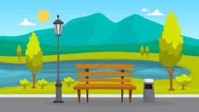 Paysage de parc de ville Herbe verte, banc et arbres illustration de vecteur