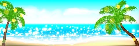 Paysage de paume de bord de la mer d'heure d'été Images stock