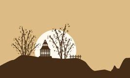 Paysage de pavillon avec de grandes silhouettes de lune Photo libre de droits