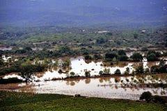Paysage de pays inondé après forte pluie Photographie stock