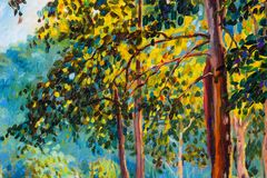 Paysage de peinture à l'huile sur la toile - arbres colorés d'automne Image stock