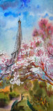 Paysage de peinture d'aquarelle Photos stock