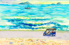 Paysage de peinture de taxi de tuk de Tuk, voyage de touristes en mer illustration stock