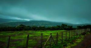 Paysage de pelouse verte naturelle avec la clôture de composé photos stock