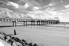 Paysage de pilier de pêche à St Augustine, plage la Floride Photographie stock
