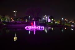 Paysage de piscine la nuit. Image stock