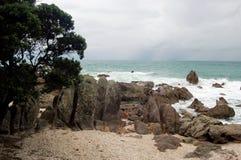 Paysage de plage, ville de Tauranga, île du nord, Nouvelle-Zélande images libres de droits
