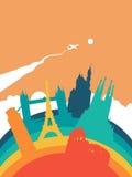 Paysage de point de repère du monde de l'Europe de voyage illustration libre de droits