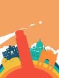 Paysage de point de repère du monde de l'Italie de voyage illustration libre de droits