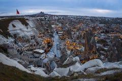 Paysage de point de vue de coucher du soleil de Goreme Cappadocia Province de Nevsehir La Turquie image stock