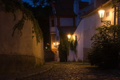 Paysage de Prague de nuit Photo stock