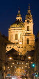 Paysage de Prague de nuit Photos stock