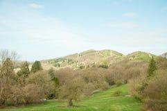 Paysage de printemps de collines de Malvern dans la campagne anglaise photographie stock