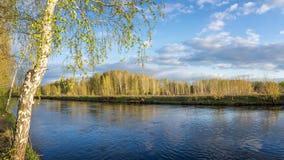 Paysage de ressort à la rivière d'Ural, Russie, Ural photographie stock libre de droits