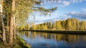Paysage de ressort à la rivière d'Ural, Russie, Ural photo libre de droits