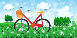 Paysage de ressort avec la bicyclette et les bois Photo stock