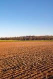 Paysage de ressort avec le ciel bleu labouré de champ et d'espace libre Image libre de droits