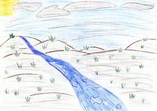Paysage de ressort - dessin d'enfants Images libres de droits