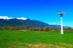 Paysage de ressort, herbe verte et montagnes de neige Images libres de droits