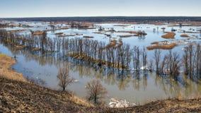 Paysage de ressort - inondez en River Valley du Siverskyi Seversky Donets, la rivière d'enroulement au-dessus des prés entre les  photographie stock