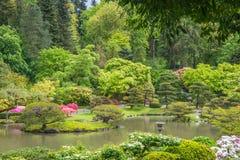 Paysage de ressort de jardin japonais avec l'étang, la lanterne en pierre, et la porte en bois à l'arrière-plan Photos stock
