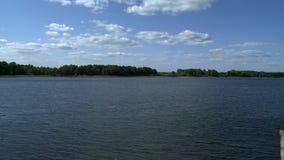 Paysage de ressort - lac et forêt sur le rivage banque de vidéos
