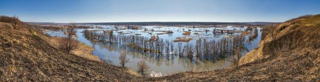 Paysage de ressort, panorama, bannière - inondez en River Valley photo stock