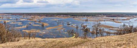 Paysage de ressort, panorama, bannière - inondez en River Valley photos stock