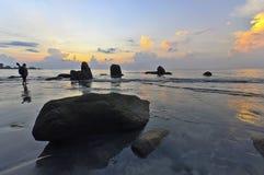 Paysage de rivière avec beau du lever de soleil Image stock